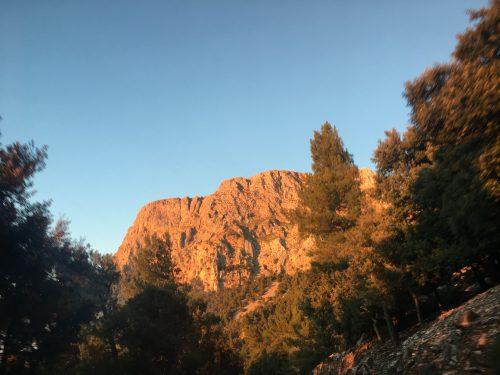 Sunset climbing wall