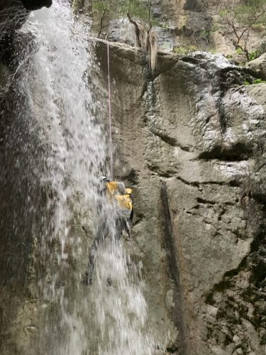 Waterfall canyoning