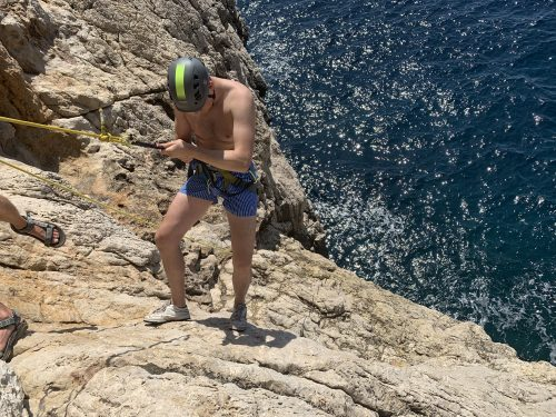 Coasteering and abseiling
