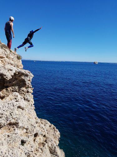 Coasteering cliff jumping